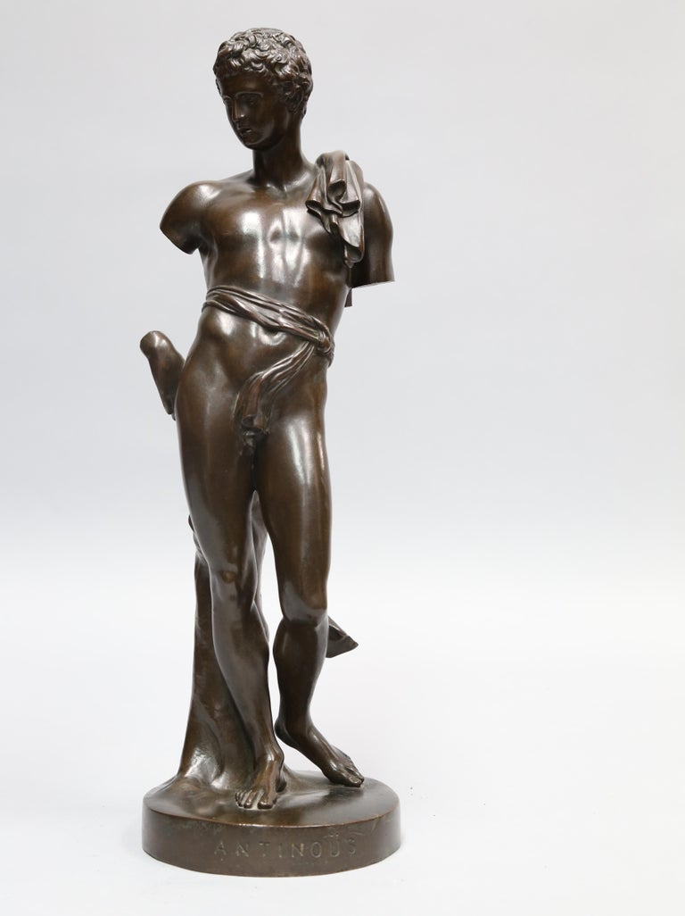 Antique Bronze Sculpture of Antinous of Belvedere, 19th Century, Italian In Excellent Condition For Sale In Montreal, QC