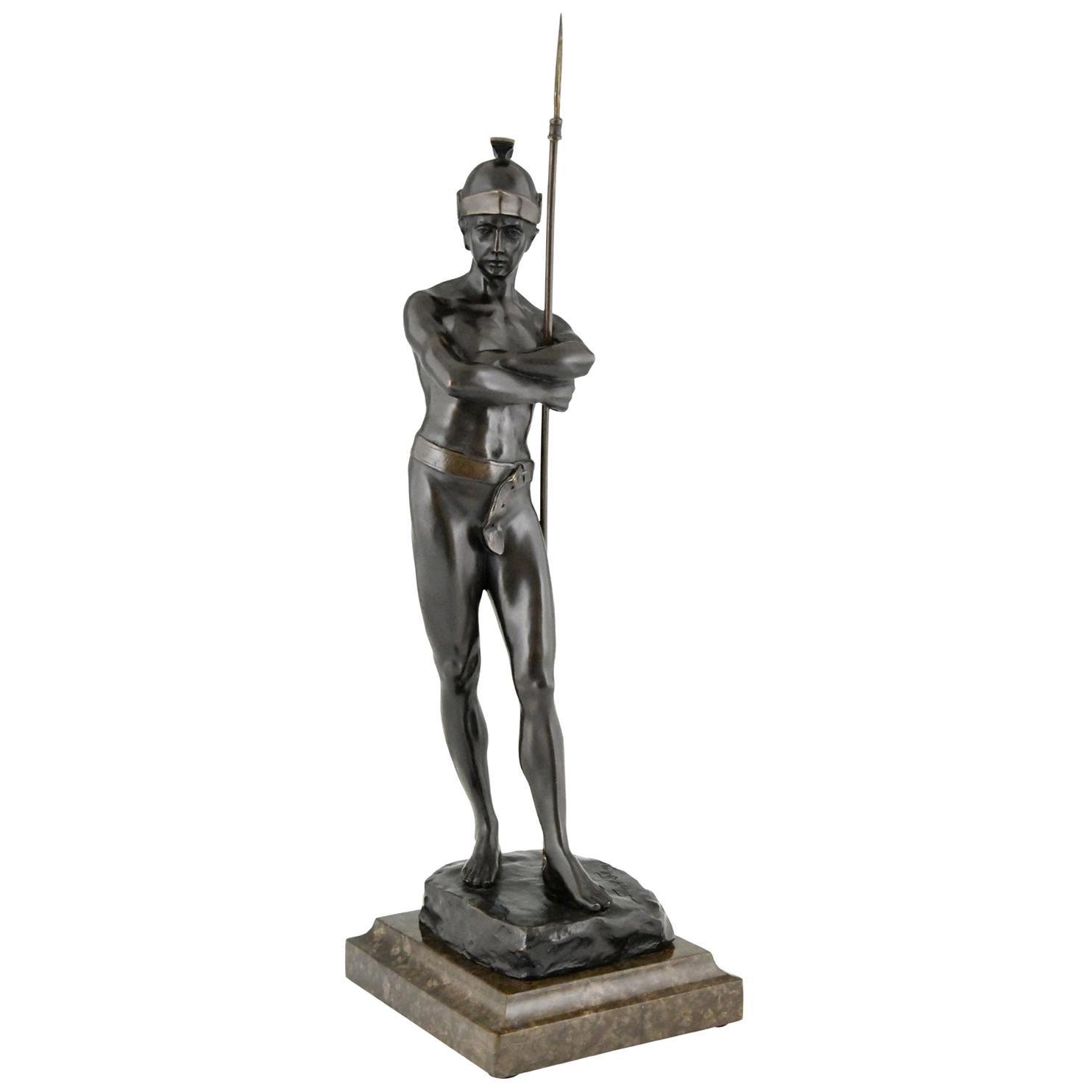 Antique Bronze Sculpture Roman Warrior Julius Schmidt Felling