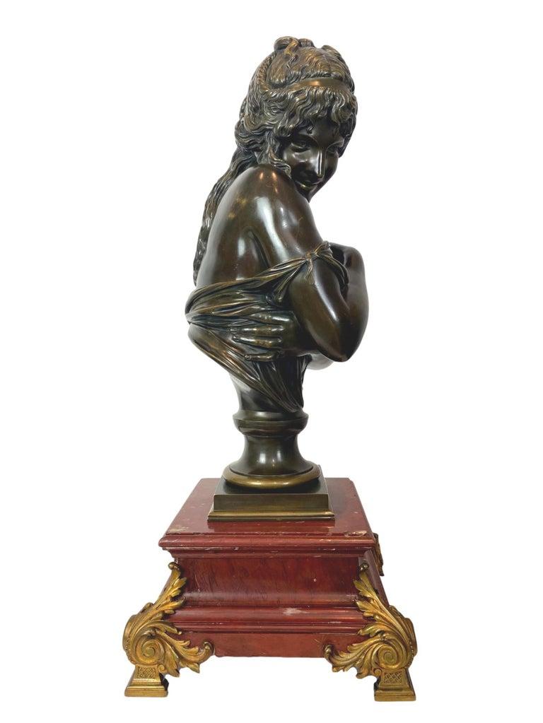 Belle Époque Antique Bronze Sculpture, Semi-Nude Bather, Remarkable Detail, French For Sale