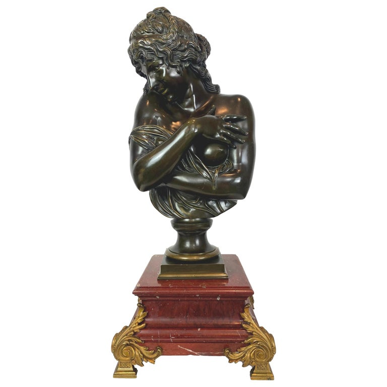 Antique Bronze Sculpture, Semi-Nude Bather, Remarkable Detail, French For Sale