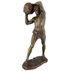 Antique Bronze Sculpture Strong Man with Stone Stanislaw Czarnowski Poland, 1908