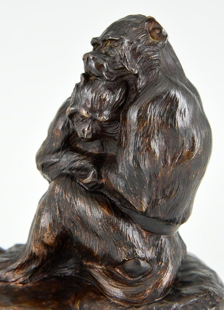 Antique Bronze Sculpture Two Monkeys Thomas François Cartier, France, 1900 For Sale 2