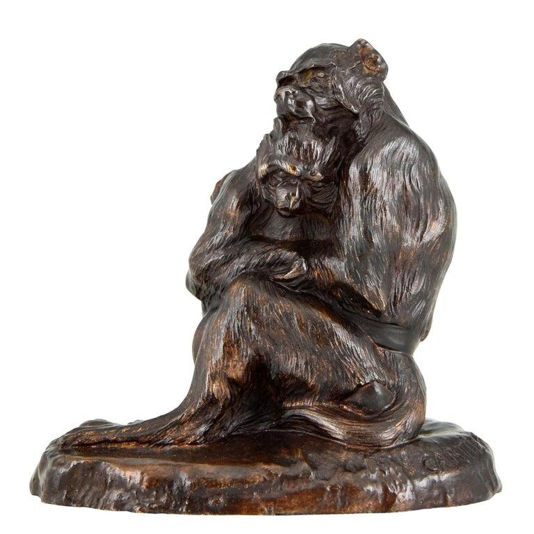 Antique Bronze Sculpture Two Monkeys Thomas François Cartier, France, 1900 For Sale