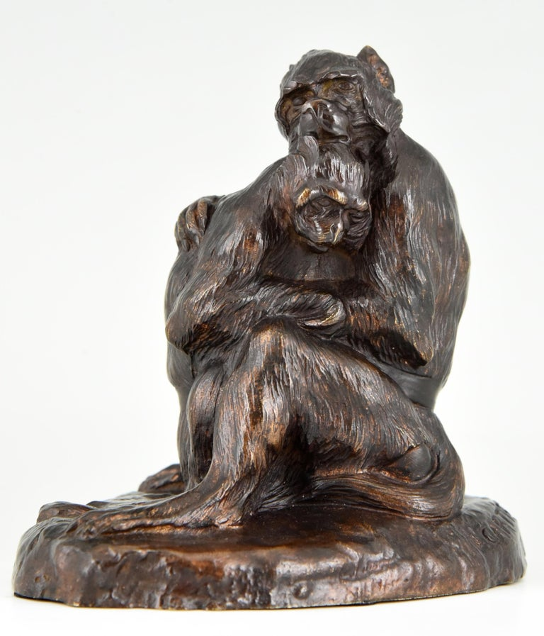 Art Nouveau Antique Bronze Sculpture Two Monkeys Thomas François Cartier, France, 1900 For Sale