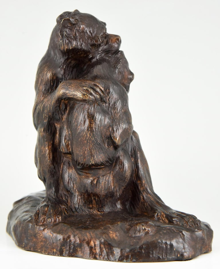 Patinated Antique Bronze Sculpture Two Monkeys Thomas François Cartier, France, 1900 For Sale