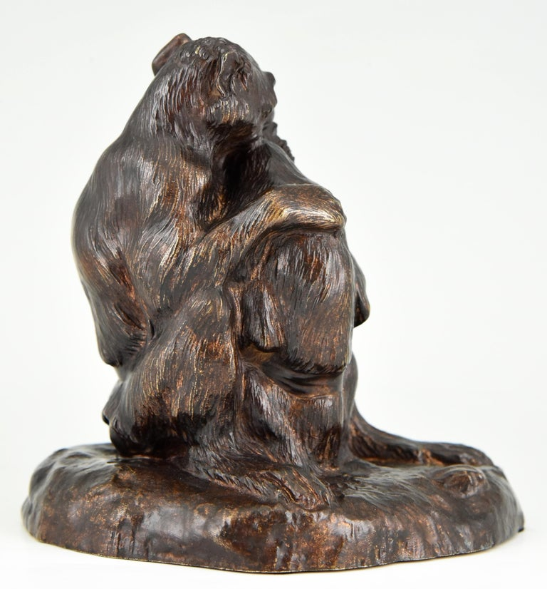Antique Bronze Sculpture Two Monkeys Thomas François Cartier, France, 1900 In Good Condition For Sale In Antwerp, BE