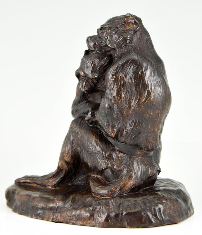 Antique Bronze Sculpture Two Monkeys Thomas François Cartier, France, 1900 For Sale 1
