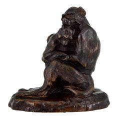 Antique Bronze Sculpture Two Monkeys Thomas François Cartier, France, 1900