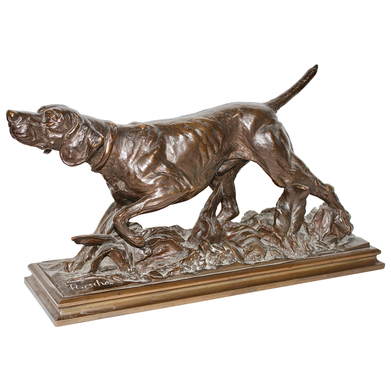 """Antique Bronze Sculpture, Walking Hound, Gundog, Signed """"Rusche"""""""