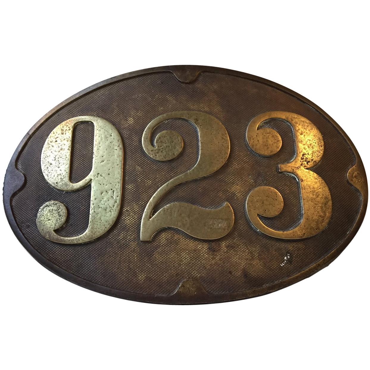 Antique Bronze Sign from Danish Train, 1910s