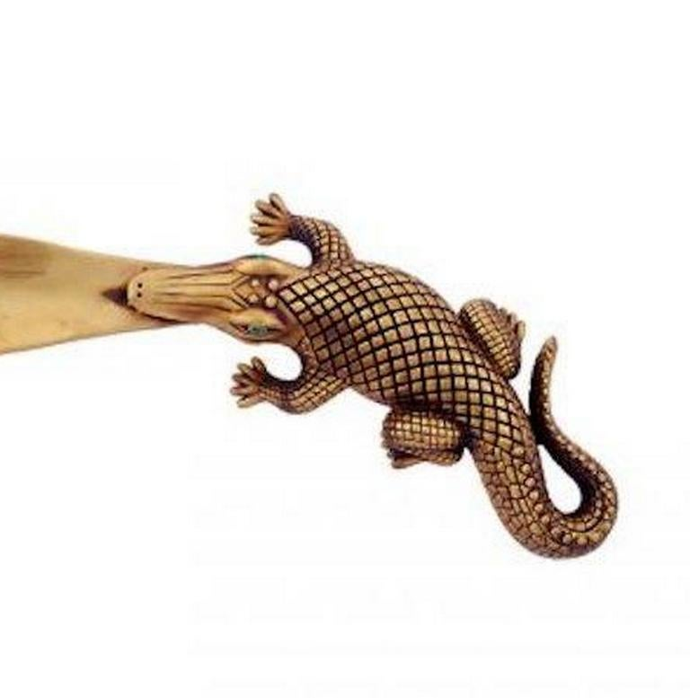 Antique Bronze Stalking Alligator Shoehorn by John Landrum Bryant In New Condition For Sale In New York, NY