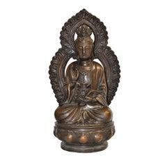 Antique Bronze Statue of Buddha Guan Yin Holding Ruyi