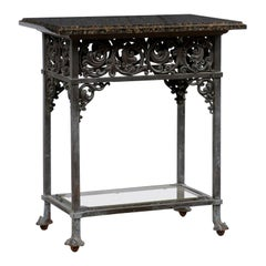 Antique Bronze Table w/ Original Granite Top, Lower Glass Shelf, Acanthus Motif