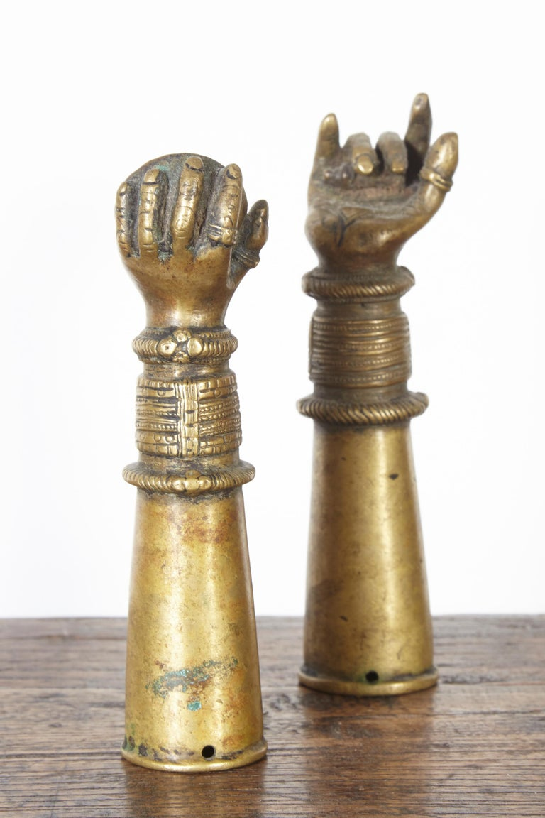 Antique Bronze Votive Hands from India For Sale 7