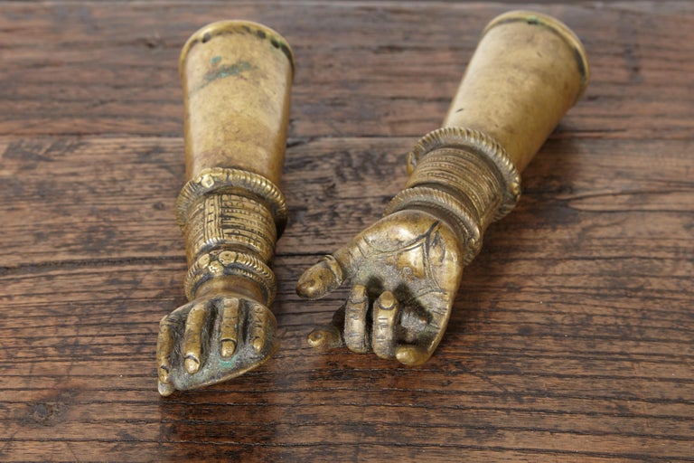 Indian Antique Bronze Votive Hands from India For Sale