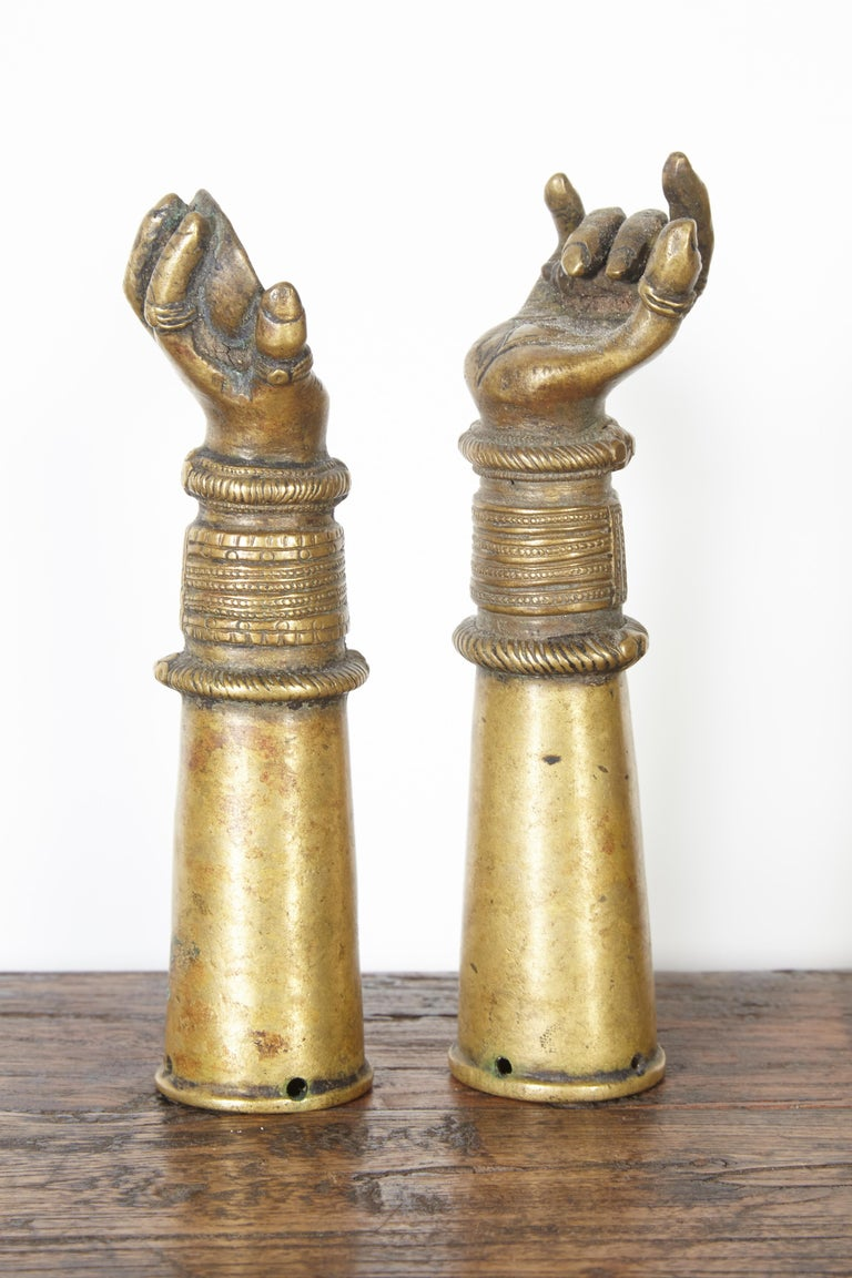 Antique Bronze Votive Hands from India In Good Condition For Sale In New York, NY