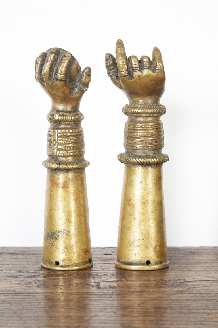 Antique Bronze Votive Hands from India For Sale 1