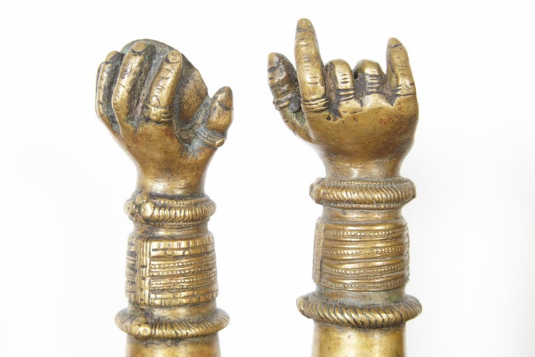 Antique Bronze Votive Hands from India For Sale 2