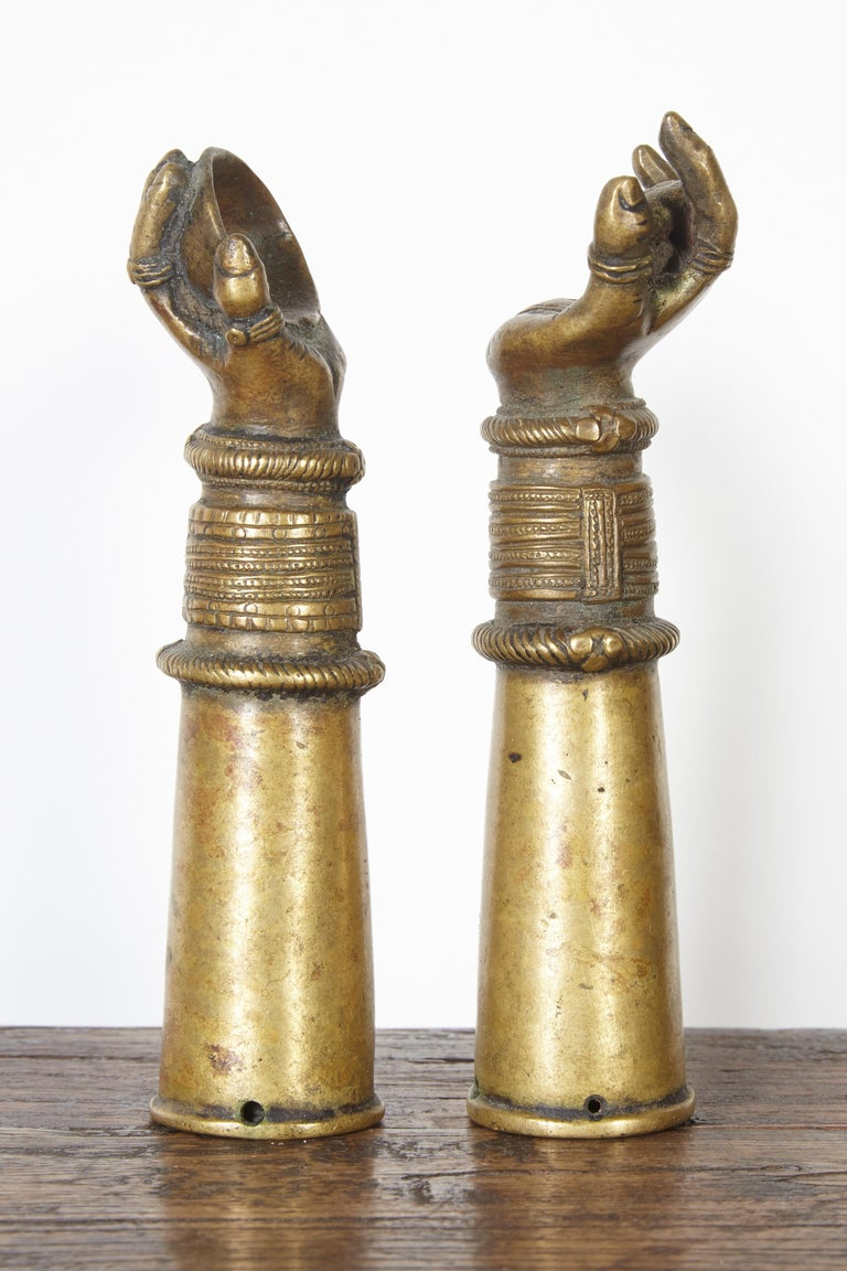 Antique Bronze Votive Hands from India For Sale 4
