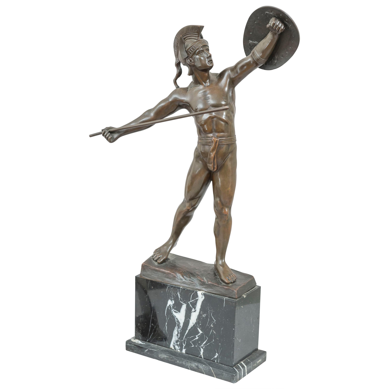 Antique Bronze Warrior on Marble Base