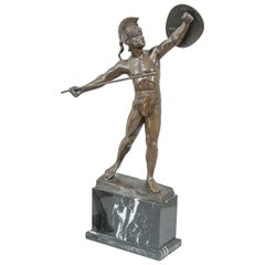 Antique Bronze Warrior on Marble Base