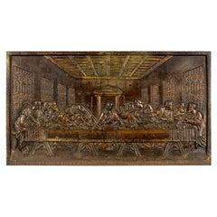 Antique Bronzed Iron Plaque, Da Vinci's the Last Supper, Fireback, Wall
