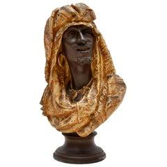 Antique Bronzed Spelter Bust of a Moorish Man