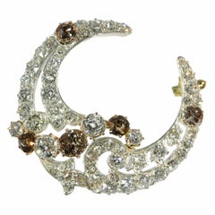 Antique Brooch Crescent Moon with Natural Fancy Color Diamonds