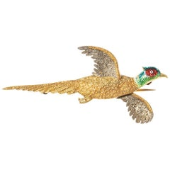 Antique Brooch of Cock Pheasant in Flight in Gold and Enamel, English circa 1920