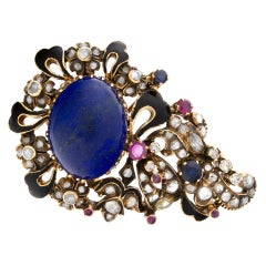 Antique Brooch with Cabochon Lapis Lazuli Center and Rose & Diamonds