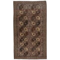 Antique Brown Afghan Ersari Carpet, Brown Tones, Allover Field, Gold Tones