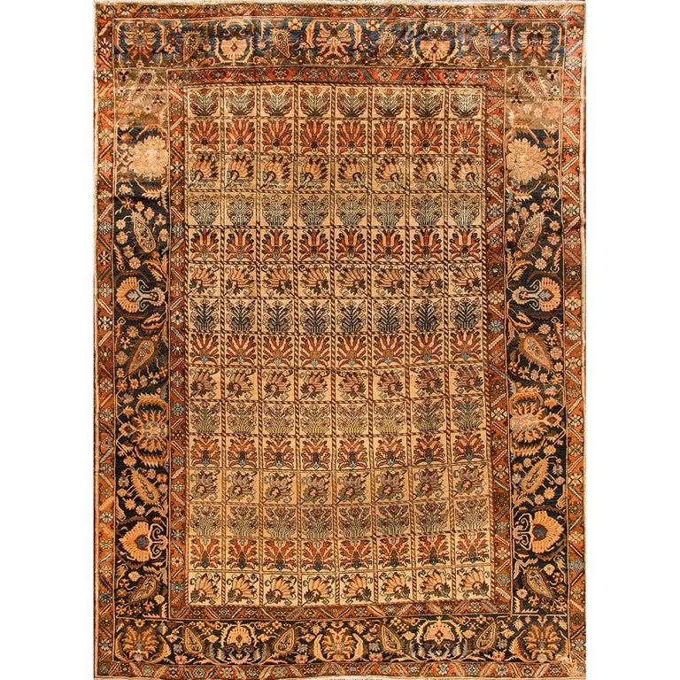 Antique Brown and Blue Bakhtiary Rug
