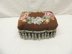 Antique Brown and Green Tapestry Footstool with Tassels