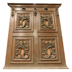 Antique Brown and Orange Panel, Headboard, with 4 Floral Carved Panels, 1900