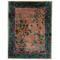 Antique Brown Art Deco Chinese Wool Rug