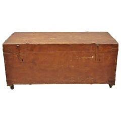 Antique Brown Distress Painted Pine Wood Dovetailed Blanket Chest Trunk