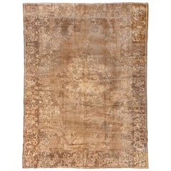 Antique Brown & Gold Turkish Oushak Rug
