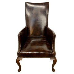 Antique Brown Leather and Nailhead Mahogany Reading Chair Wingback Armchair