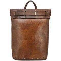 Antique Brown Leather Briefcase or Mail Bag