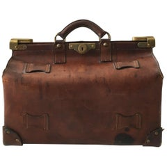 Antique Brown Leather Gladstone Doctors Bag Vintage Case, France, circa 1900s