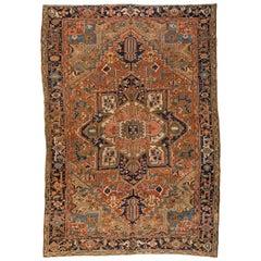 Antique Brown Rust Navy Blue Geometric Persian Heriz Rug