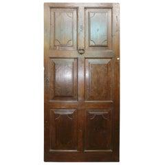 Antique Brown Walnut Entrance Door, 18th Century, Italy