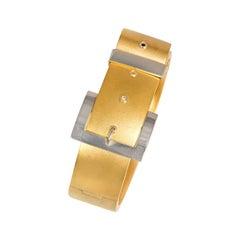 Antique Brushed Gold and Platinum Belt Buckle Design Bracelet