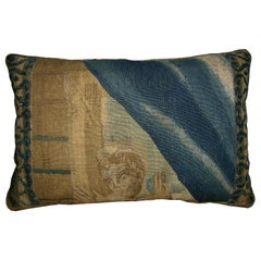 Antique Brussels Tapestry Pillow circa 17th Century 1767p