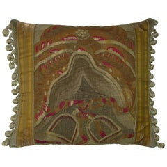 Antique Brussels Tapestry Pillow circa 17th Century, 1775p