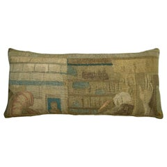 Antique Brussels Tapestry Pillow circa 17th Century, 1766p