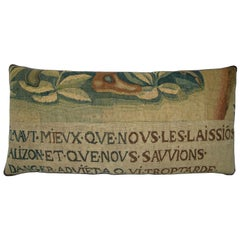 Antique Brussels Tapestry Pillow circa 17th Century 1777p