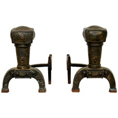 Antique Brutalist Pair of Iron Fireplace Log Andirons