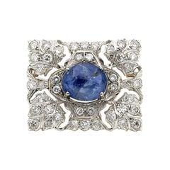 Antique Buccellati 17.0 Carat Natural Sapphire 11.40 Ct Diamond Platinum Brooch