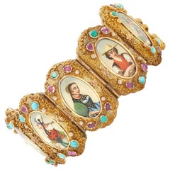 Antique Bucolic Enamel Gold Bracelet